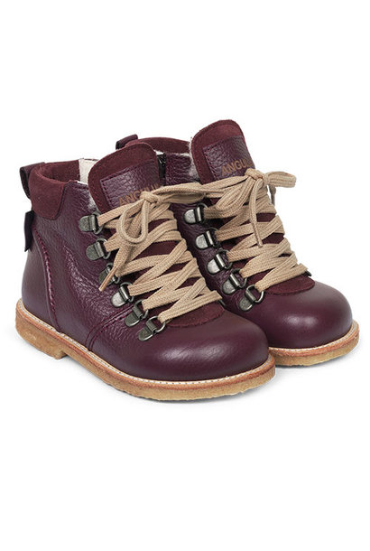 Angulus Lace-up TEX Boot with Zipper and D-Rings amarone / paars (Veterschoen)