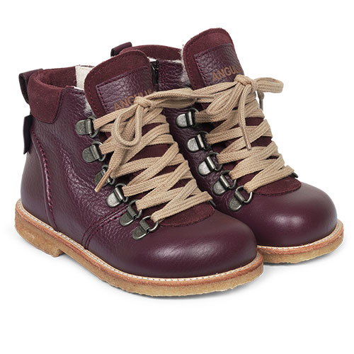 Angulus Lace-up TEX Boot with Zipper and D-Rings amarone / paars (Veterschoen)-1
