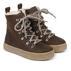 Angulus Leather Boot Lamb Wool with Zipper and Laces Dark Brown / Bruin (Veterschoenen)