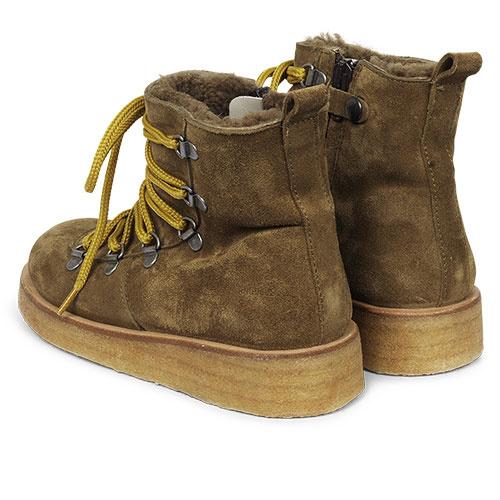 Angulus Suede Leather Boot Lamb Wool with Zipper and Laces Ocher Mustard / Oker Bruin (Veterschoenen)-3