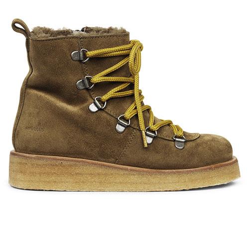 Angulus Suede Leather Boot Lamb Wool with Zipper and Laces Ocher Mustard / Oker Bruin (Veterschoenen)-2