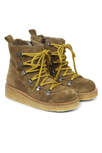 Angulus Suede Leather Boot Lamb Wool with Zipper and Laces Ocher Mustard / Oker Bruin (Veterschoenen)