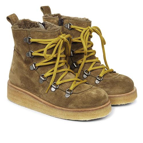 Angulus Suede Leather Boot Lamb Wool with Zipper and Laces Ocher Mustard / Oker Bruin (Veterschoenen)-1