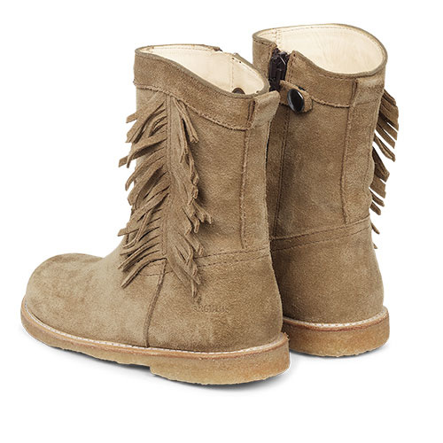 Angulus Suede Leather Boot with Side Zipper and Fringe camel tan / licht bruin (Laars)-3