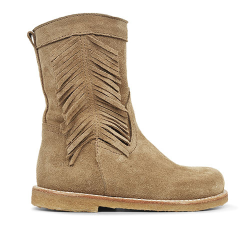 Angulus Suede Leather Boot with Side Zipper and Fringe camel tan / licht bruin (Laars)-2