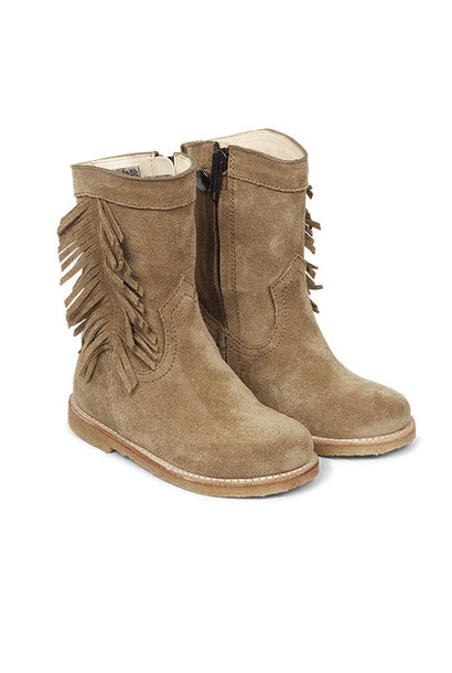 Angulus Suede Leather Boot with Side Zipper and Fringe camel tan / licht bruin (Laars)
