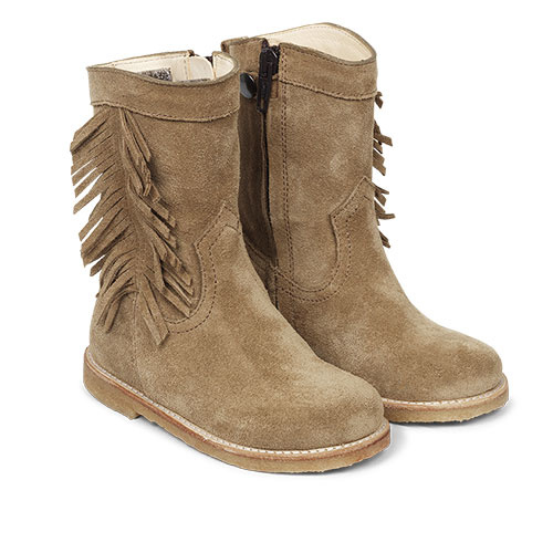 Angulus Suede Leather Boot with Side Zipper and Fringe camel tan / licht bruin (Laars)-1