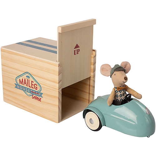 Maileg Mouse car with garage - Blue (muis)-1