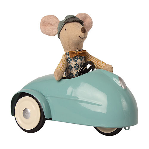 Maileg Mouse car with garage - Blue (muis)-2