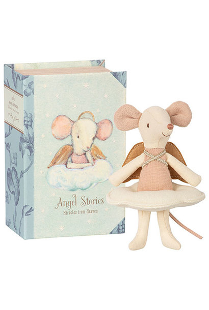 Maileg Angel mouse, big sister in book (muis)