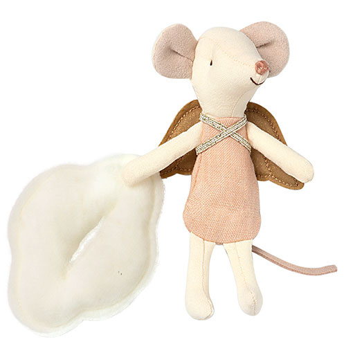 Maileg Angel mouse, big sister in book (muis)-2
