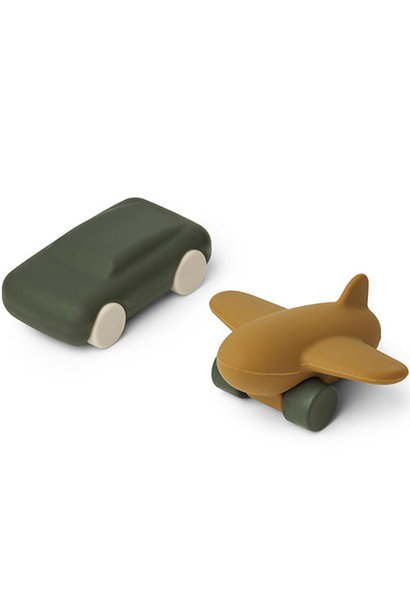 Liewood Kevin car & airplane - 2-pack Hunter green/olive green mix (speeltjes)