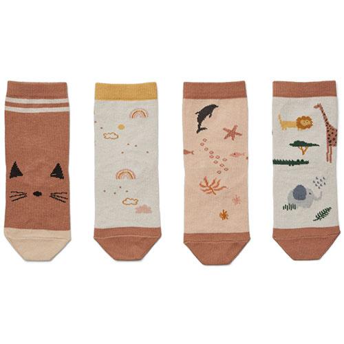 Liewood Silas cotton socks - 4 pack Safari rose mix (sokken)-1