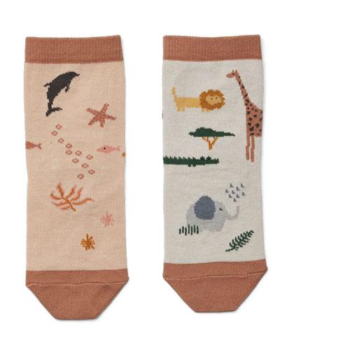 Liewood Silas cotton socks - 4 pack Safari rose mix (sokken)-4