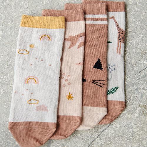Liewood Silas cotton socks - 4 pack Safari rose mix (sokken)-2