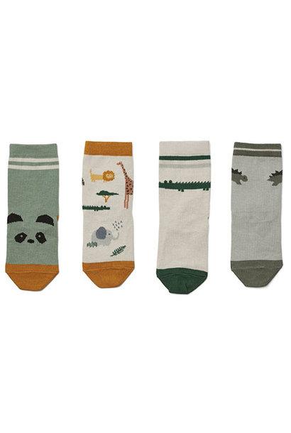 Liewood Silas cotton socks - 4 pack Safari sandy mix (sokken)