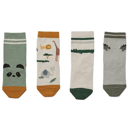 Liewood Silas cotton socks - 4 pack Safari sandy mix (sokken)-1