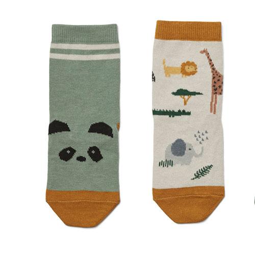 Liewood Silas cotton socks - 4 pack Safari sandy mix (sokken)-2