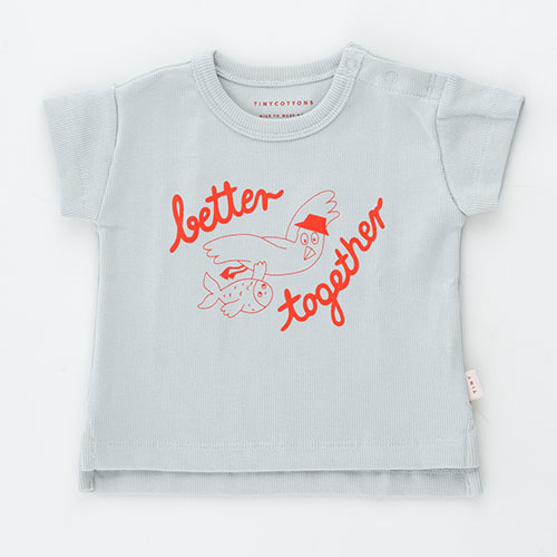 Tinycottons Better Together Baby Tee pale grey/red (t-shirt)-1