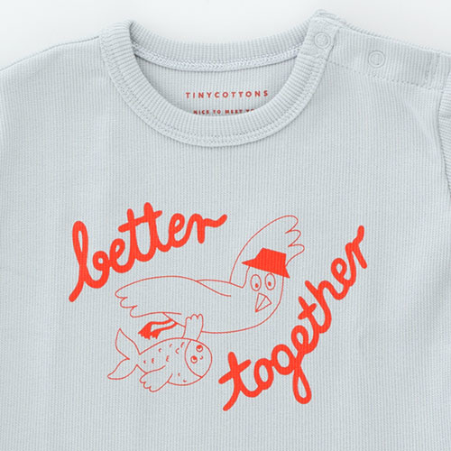 Tinycottons Better Together Baby Tee pale grey/red (t-shirt)-6