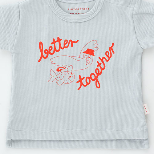 Tinycottons Better Together Baby Tee pale grey/red (t-shirt)-7
