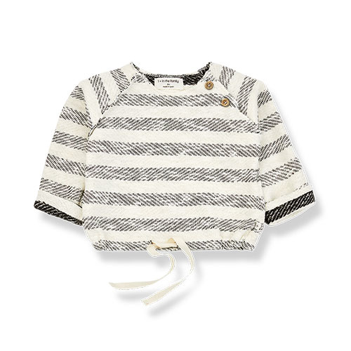 1+ in the family axel sweatshirt Rustic Striped Fleece anthracite (trui)-1