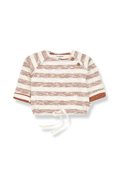 1+ in the family axel sweatshirt Rustic Striped Fleece roibos (trui)