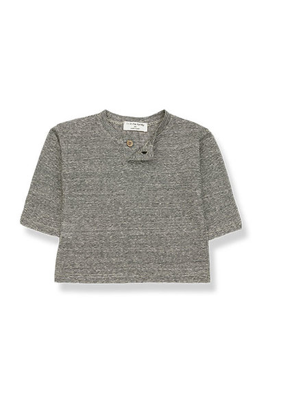 1+ in the family miki long sleeve t-shirt Striped Linen Jersey anthracite (tee)