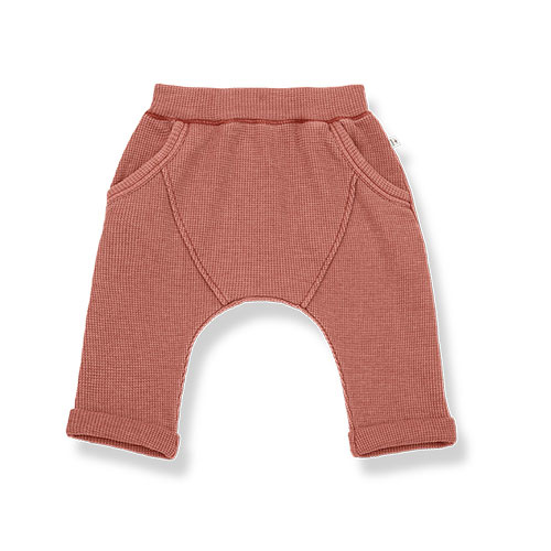 1+ in the family tomas baggy pants Soft Waffle Jersey roibos (broek)-1