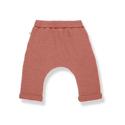 1+ in the family tomas baggy pants Soft Waffle Jersey roibos (broek)-4