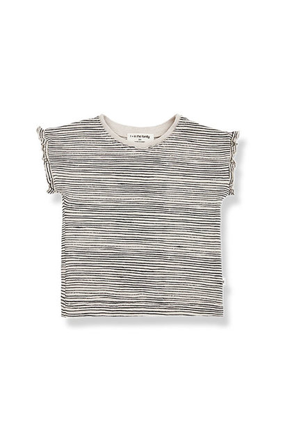 1+ in the family isona girly t-shirt Striped Slub Cotton stone frill (top)