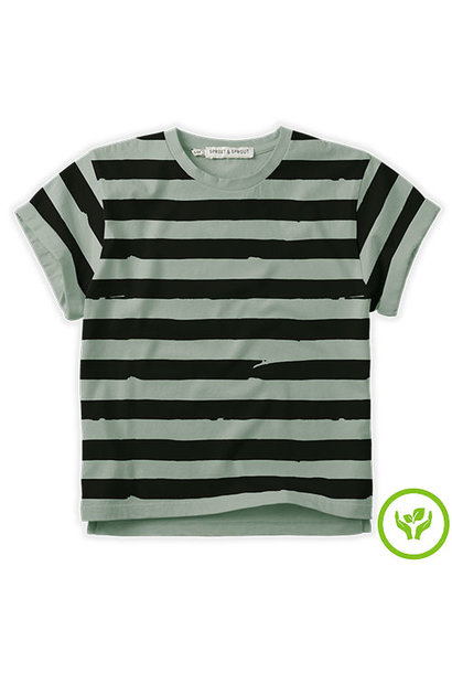Sproet & Sprout T-shirt Painted Stripe Eucalyptus (shirt)