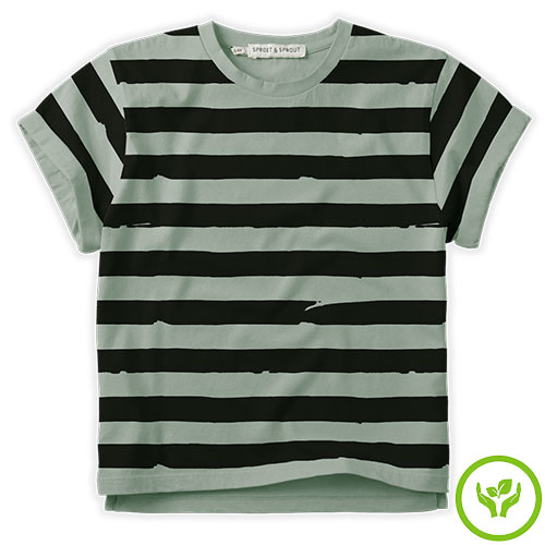 Sproet & Sprout T-shirt Painted Stripe Eucalyptus (shirt)-1