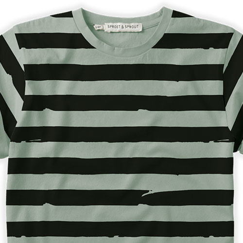 Sproet & Sprout T-shirt Painted Stripe Eucalyptus (shirt)-6
