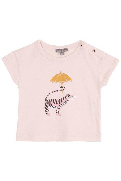 Emile et Ida Tee Shirt Rose Tigre Ombrelle (t-shirt)