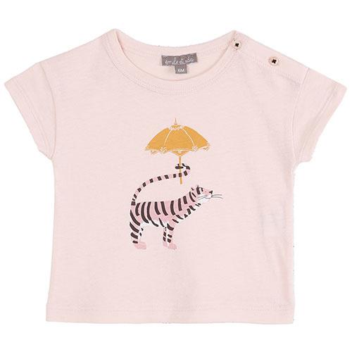 Emile et Ida Tee Shirt Rose Tigre Ombrelle (t-shirt)-1