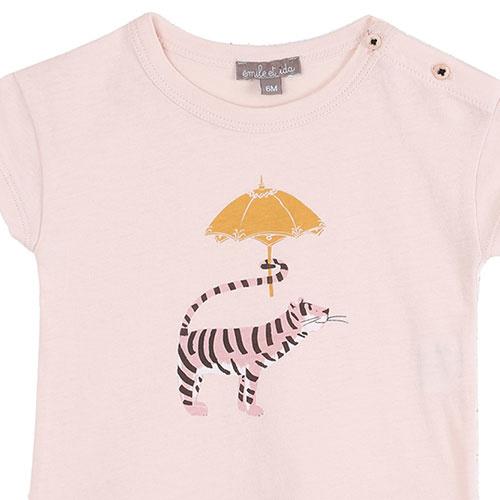 Emile et Ida Tee Shirt Rose Tigre Ombrelle (t-shirt)-2
