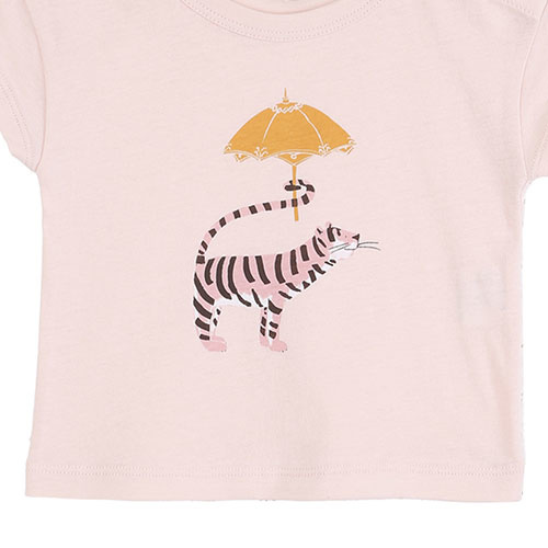 Emile et Ida Tee Shirt Rose Tigre Ombrelle (t-shirt)-3