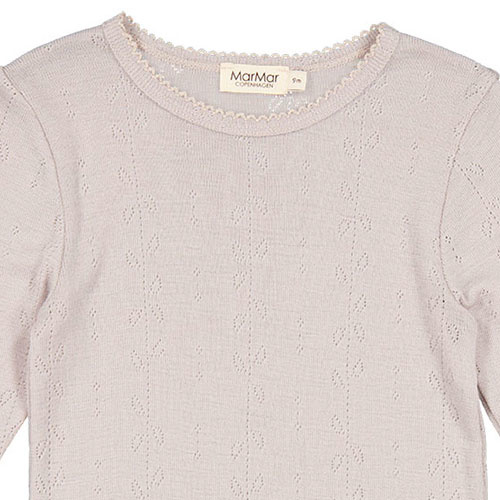 MarMar Copenhagen Tamra Wool Pointelle T-shirts Girls Burnt Soft Dove (shirt)-4
