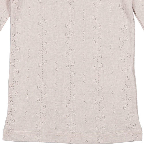 MarMar Copenhagen Tamra Wool Pointelle T-shirts Girls Burnt Soft Dove (shirt)-5