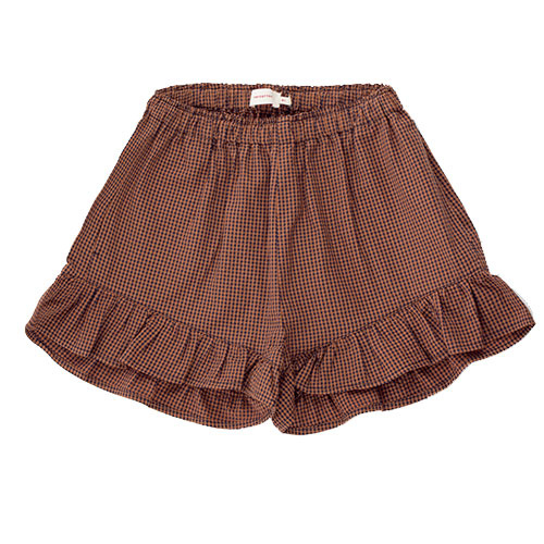 Tinycottons Check Frills Short cinnamon/ink blue (korte broek)-1