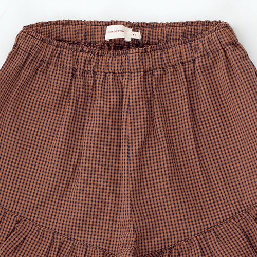 Tinycottons Check Frills Short cinnamon/ink blue (korte broek)-4