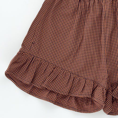 Tinycottons Check Frills Short cinnamon/ink blue (korte broek)-5