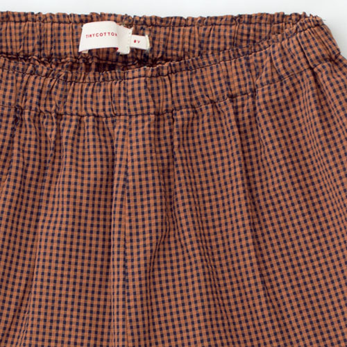 Tinycottons Check Frills Short cinnamon/ink blue (korte broek)-6