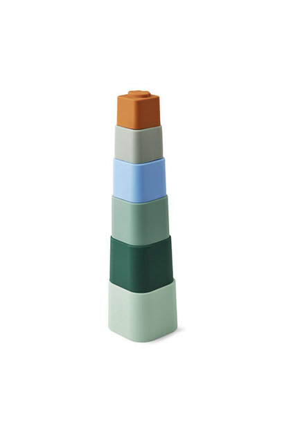 Liewood Zuzu stacking cups Dove blue multi mix (speelgoed toren)