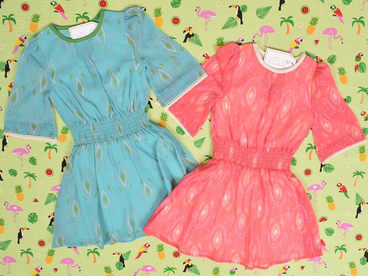 Wild & Gorgeous Henry Ikat Dress Turquiose (Jurk)-6