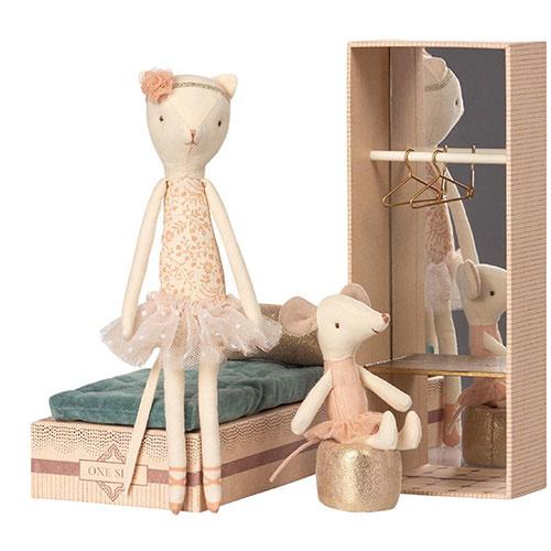 Maileg Dancing Cat and Mouse in Shoebox (speelgoedset)-2