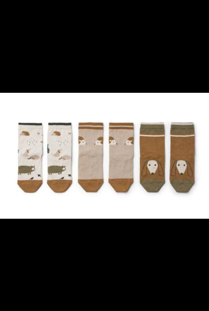 Liewood Silas cotton socks Friendship sandy mix - 3 pack (sokken)