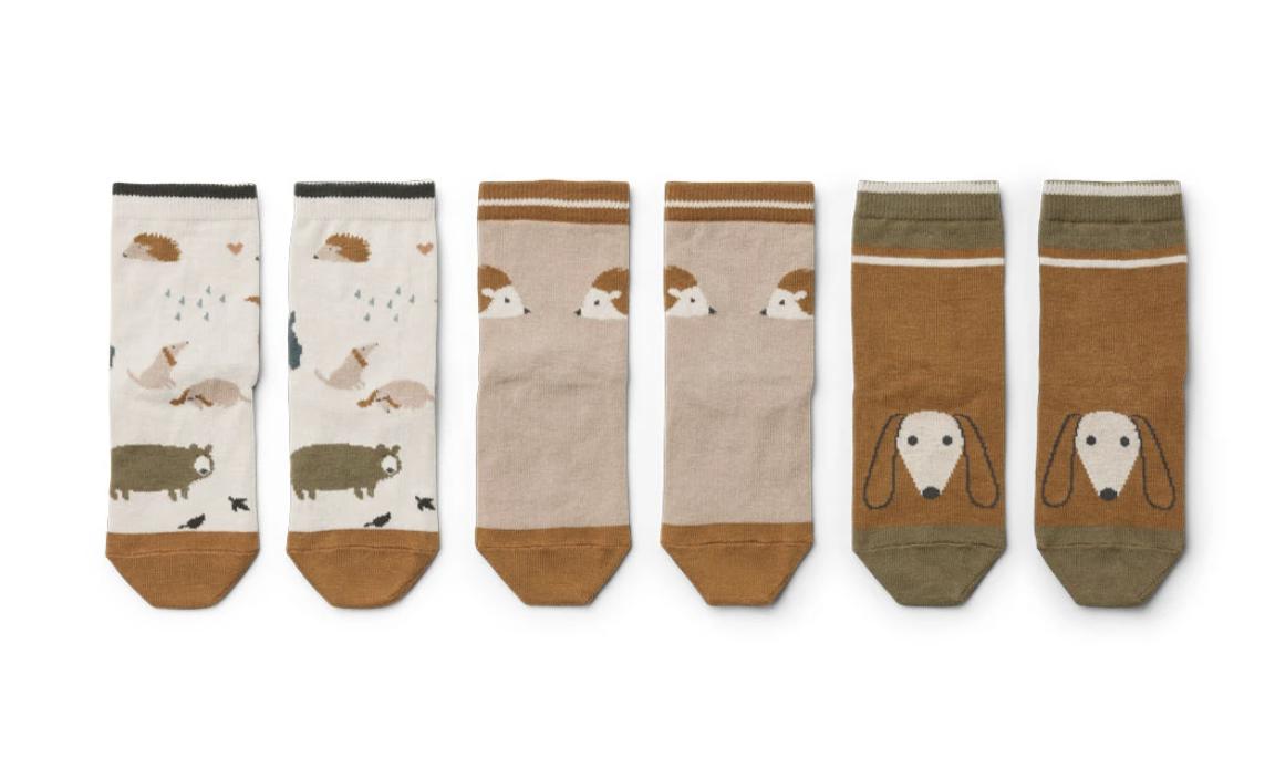 Liewood Silas cotton socks Friendship sandy mix - 3 pack (sokken)-1