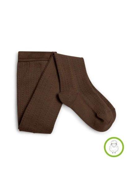 Collegien Angelique Tights - Collants en laine Merinos et maille ajouree Chocolat au lait (maillot)
